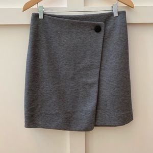 loft heathered gray faux wrap skirt
